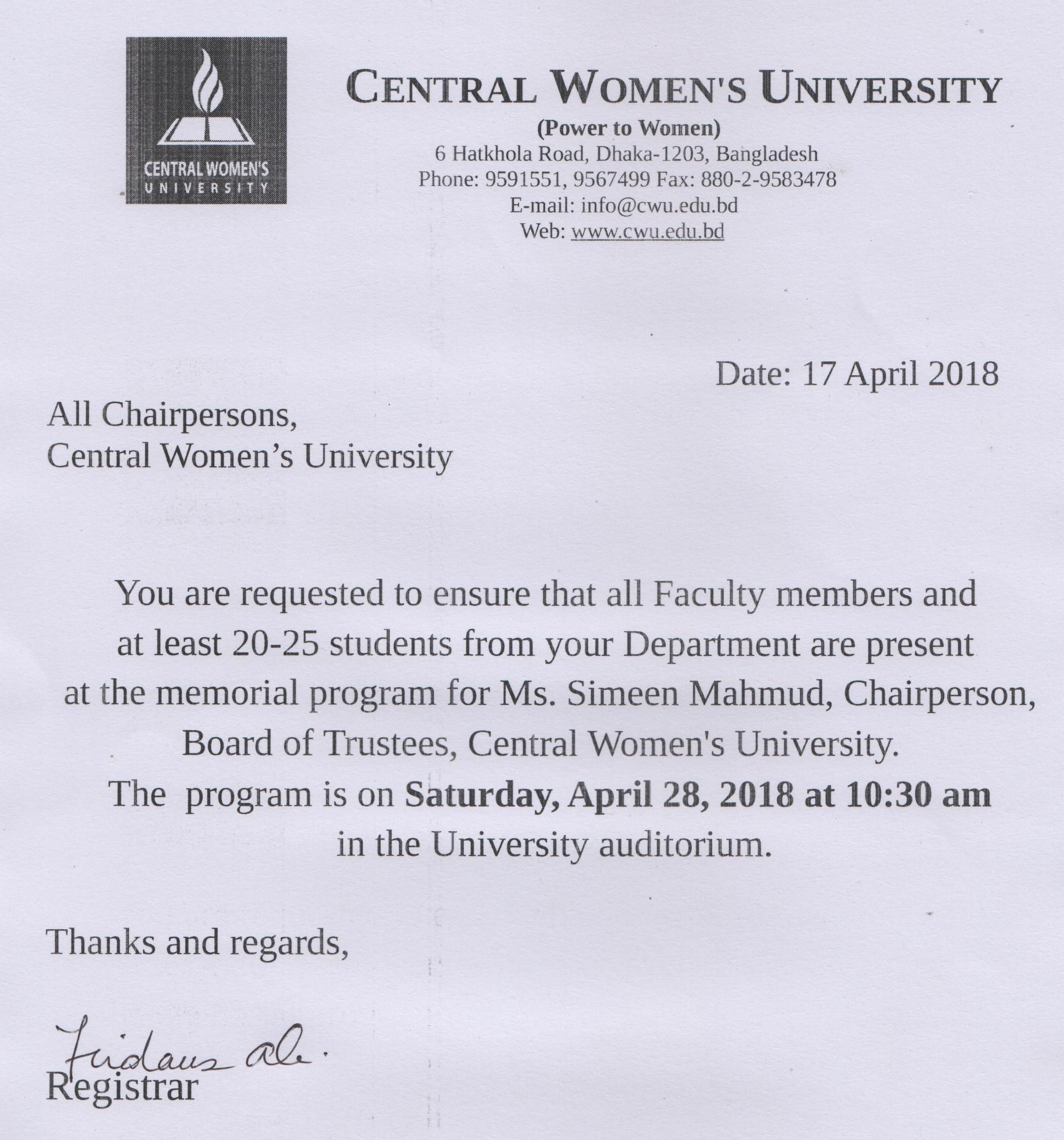 Central Women's University | Memorial program for Ms  Simeen